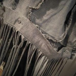 Simple Feather Boutique Jackets & Coats - Denim Vest w/ Removable Fringes